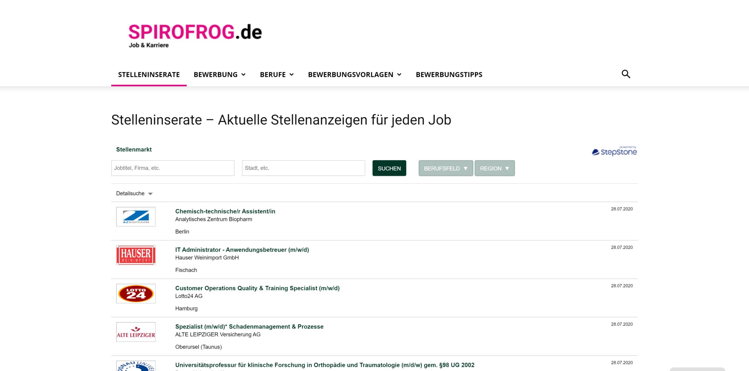 Spirofrog.de: Stelleninserate, Bewerbungsvorlagen und Karrieremagazin
