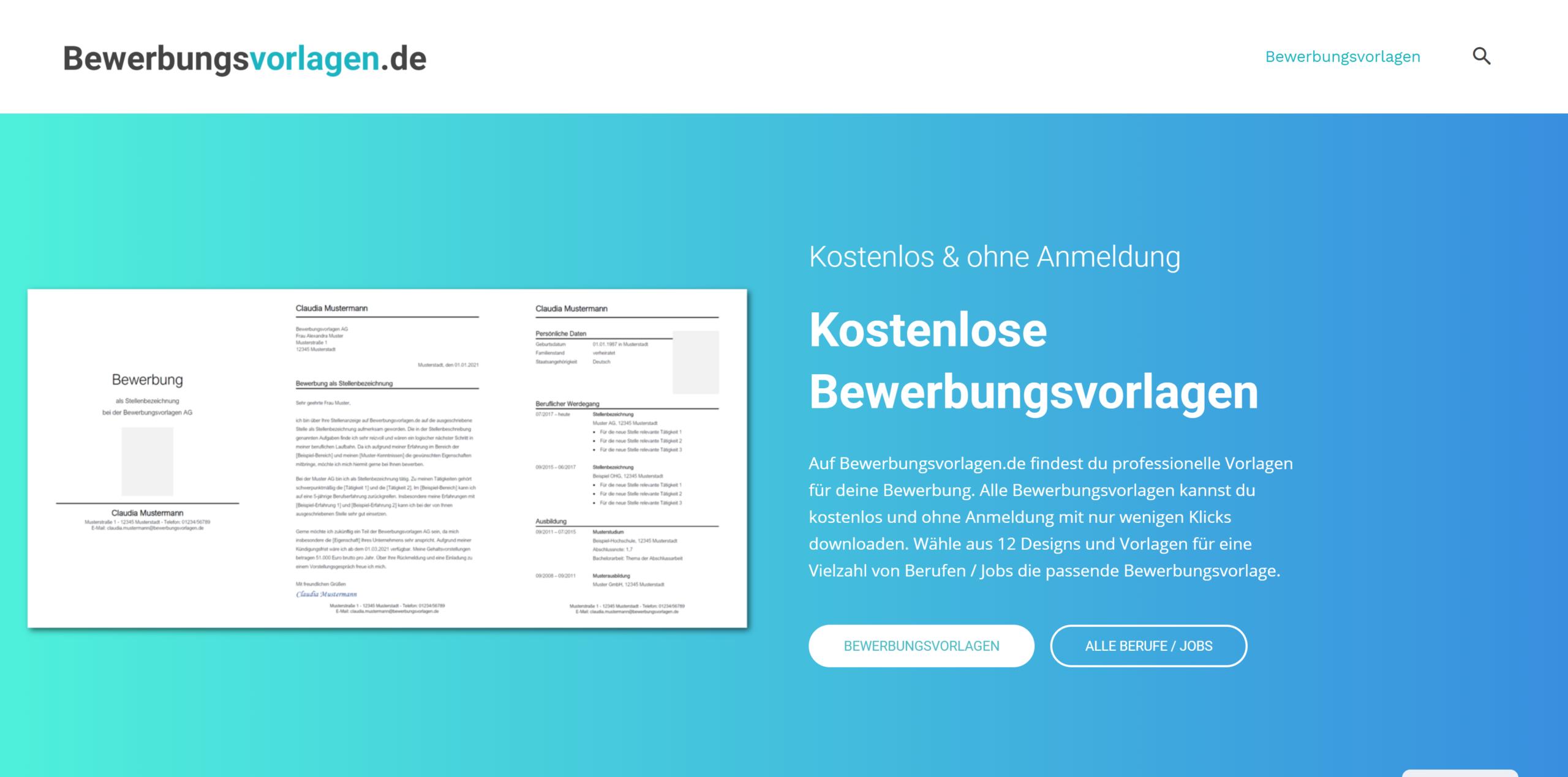 Bewerbungsvorlagen.de: Kostenlose Bewerbungsvorlagen